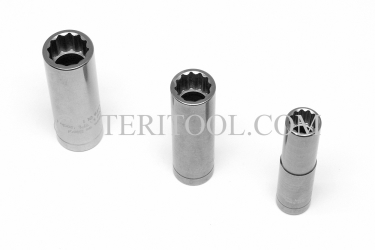 #12857 - 17mm 12pt X 1/2 DR Stainless Steel Deep Socket. 1/2dr, 1/2-dr, 1/2 dr, 12pt, 12-pt, 12 pt, deep socket, stainless steel